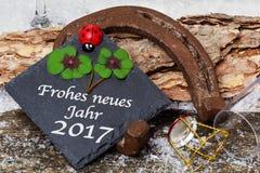 Buon anno 2017, cartolina d'auguri Fotografia Stock