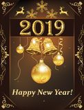 Buon anno 2019 - cartolina d'auguri classica royalty illustrazione gratis
