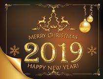 Buon anno 2019 - cartolina d'auguri classica con fondo marrone illustrazione di stock