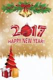 Buon anno 2017 - cartolina d'auguri elegante Fotografia Stock