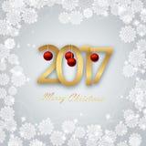 Buon anno 2017 Cartolina di Natale illustrazione vettoriale