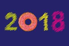 Buon anno 2018 Ciambella dolce Ciambella con la glassa rosa Multi numeri tricottati colorati di Natale Numeri del ricamo Vettore Immagine Stock Libera da Diritti