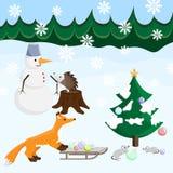 Buon anno con gli animali, l'abete ed il pupazzo di neve Immagini Stock Libere da Diritti