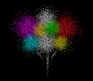Buon anno con i fuochi d'artificio variopinti Fotografia Stock