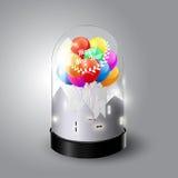 Buon anno 2017 con i palloni variopinti in cupola di vetro, vista isometrica, illustrazione Fotografie Stock Libere da Diritti