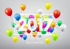 Buon anno 2017 con i palloni variopinti, illustrazione Immagine Stock Libera da Diritti