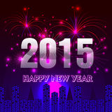 Buon anno 2015 con il fondo dei fuochi d'artificio Immagini Stock Libere da Diritti