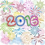 Buon anno 2016 con il fondo dei fuochi d'artificio Immagini Stock Libere da Diritti