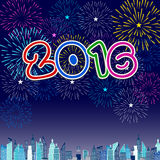 Buon anno 2016 con il fondo dei fuochi d'artificio Fotografie Stock Libere da Diritti