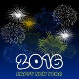 Buon anno 2016 con il fondo dei fuochi d'artificio Fotografia Stock Libera da Diritti