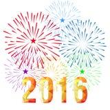 Buon anno 2016 con il fondo dei fuochi d'artificio Immagini Stock