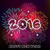 Buon anno 2016 con il fondo dei fuochi d'artificio Fotografia Stock