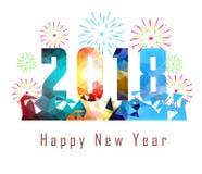 Buon anno 2018 con il fondo del fuoco d'artificio Fotografia Stock