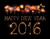 Buon anno 2016 con il fuoco d'artificio della scintilla Fotografie Stock Libere da Diritti