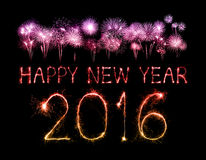 Buon anno 2016 con il fuoco d'artificio della scintilla Fotografie Stock