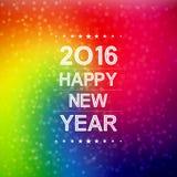 Buon anno 2016 con il modello del chiarore della lente e del bokeh nel fondo variopinto Immagine Stock