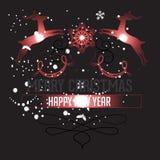 Buon anno con il Natale fondo ed il vettore della cartolina d'auguri Royalty Illustrazione gratis