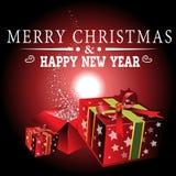 Buon anno con il Natale fondo ed il vettore della cartolina d'auguri Illustrazione Vettoriale