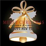 Buon anno con il Natale fondo ed il vettore della cartolina d'auguri Illustrazione di Stock