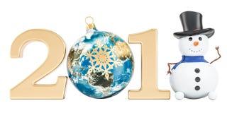 Buon anno 2018 con il pupazzo di neve ed il Natale a forma di palla come ea illustrazione di stock