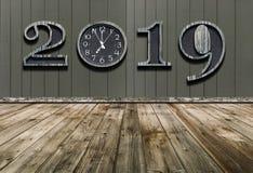 Buon anno 2019 con nuova sincronizzazione nella vita immagini stock libere da diritti