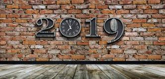 Buon anno 2019 con nuova sincronizzazione nella vita immagine stock libera da diritti