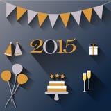 Buon anno con progettazione piana Fotografie Stock Libere da Diritti