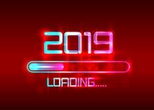 Buon anno 2019 con stile al neon blu di carico dell'icona Indicatore di stato quasi che raggiunge vigilia del ` s del nuovo anno  illustrazione vettoriale