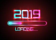 Buon anno 2019 con stile al neon blu di carico dell'icona Indicatore di stato quasi che raggiunge vigilia del ` s del nuovo anno  royalty illustrazione gratis