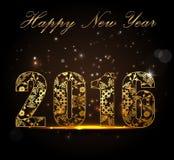 Buon anno 2016, concetto di celebrazione con testo dorato su bella incandescenza nella notte royalty illustrazione gratis