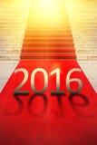 Buon anno 2016, concetto esclusivo del tappeto rosso Immagini Stock