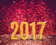 Buon anno 2017 3d che rende anno in rosso d'annata ed oro Fotografie Stock Libere da Diritti
