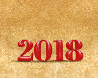 Buon anno 2018 3d che rende colore rosso a scintillare dorato Immagini Stock Libere da Diritti