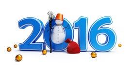 Buon anno 2016 dei pupazzi di neve Fotografie Stock Libere da Diritti