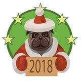 Buon anno 2018 del carlino del cane Immagine Stock Libera da Diritti