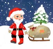 2019 buon anno del nuovo anno del Babbo Natale, natale del Babbo Natale, cartolina, cartolina d'auguri, inverno, stagione inverna illustrazione vettoriale