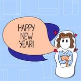 Buon anno del testo della scrittura Concetto che significa all'inizio di gennaio natale allegro di congratulazioni ognuno illustrazione vettoriale