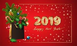 Buon anno del testo di vettore dell'oro e 3d cifre dorate 2019 3d sacchetto della spesa, abete rosso, rami dell'abete, giocattoli fotografia stock libera da diritti