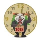 Buon anno 2018 dell'orologio del bulldog del cane Fotografie Stock