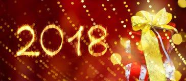 Buon anno 2018 della cartolina d'auguri Fotografie Stock