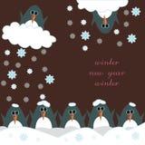 Buon anno della cartolina d'auguri con i pinguini Fotografia Stock Libera da Diritti