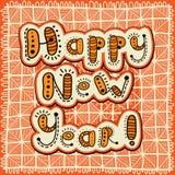 Buon anno della cartolina d'auguri della rappezzatura Immagini Stock