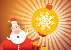 Buon anno della cartolina d'auguri di Buon Natale di Santa Claus Hold Big Decoration Ball Fotografie Stock Libere da Diritti