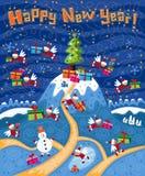 Buon anno della cartolina di Natale Fotografie Stock Libere da Diritti