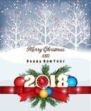 Buon anno 2018 della cartolina e Buon Natale Fotografie Stock