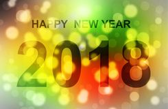 Buon anno 2018 della luce di Boken Immagine Stock Libera da Diritti