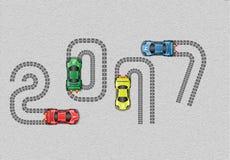 buon anno 2017 della macchina da corsa Fotografia Stock Libera da Diritti
