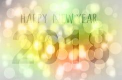 Buon anno 2018 di colore di Bokeh Fotografie Stock Libere da Diritti