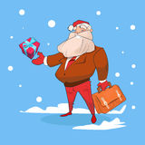 Buon anno di festa di Natale della scatola del presente di Santa Claus Business Man With Big Fotografie Stock