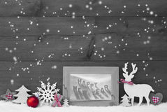 Buon anno di Gray Christmas Background Snowflakes Frame Immagini Stock